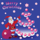 Christmas balls and Santa. Merry Christmas. Greeting card, banner, poster, leaflet Royalty Free Stock Photography