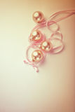 Christmas balls with satin ribbon Stock Photo