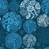Christmas balls seamless pattern in blue Stock Photography