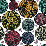 Christmas balls seamless pattern in blue Royalty Free Stock Image