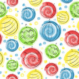 Christmas balls seamless pattern. With watercolor brushes for greetings cards Royalty Free Stock Image