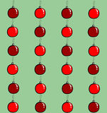 Christmas balls seamless. Seamless texture made of many red and vinous Christmas balls on green background Royalty Free Illustration