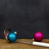 Christmas balls and serving spoon Stock Photography