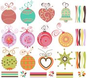Christmas balls set. A collection of Christmas balls in retro colors Royalty Free Stock Images