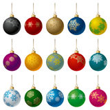 Christmas Balls Set. Set of Matt Color Christmas Balls with Snowflakes Ornament. Vector Illustration Stock Image