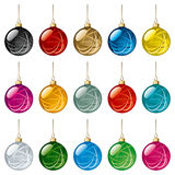Christmas Balls Set. Set of Glass Christmas Balls with Snowflakes Ornament. Vector Illustration Royalty Free Stock Photo