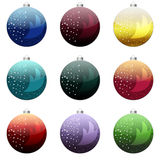 Christmas Balls Set. 9 fine fir-tree toys – Christmas Balls – various coloring Royalty Free Stock Photo