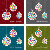 Christmas balls, vector. Set of abstract backgrounds with christmas balls, vector Stock Photo