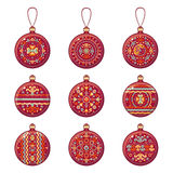 Christmas balls. Set of color Christmas toys. Stock Images