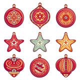 Christmas balls. Set of color Christmas toys. Stock Image