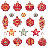 Christmas balls. Set of color Christmas toys. Royalty Free Stock Image