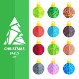 Christmas balls set-10. Colorful Christmas balls isolated on white background. White Christmas tree silhouette. Design elements for greeting cards or flyers Royalty Free Stock Photos