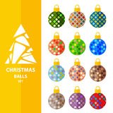 Christmas balls set-9. Colorful Christmas balls isolated on white background. White Christmas tree silhouette. Design elements for greeting cards or flyers Royalty Free Stock Photo