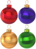 Christmas balls set New Year baubles multicolored. Set of Christmas balls multi colored decoration Happy New Year bauble classic. Merry Xmas greeting card design Royalty Free Stock Image