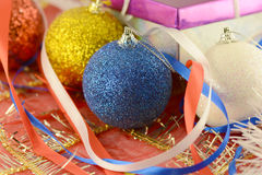 Christmas balls set, new year holiday card Stock Images