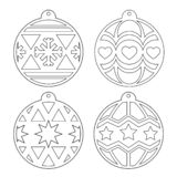 Christmas balls. Stencil. Vector outline image on a white background. Christmas balls. A set of stencils for cutting. Decorating the Christmas tree for laser royalty free illustration