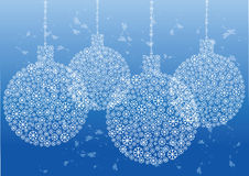 Christmas balls silhouette of snow flakes Stock Images