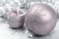 Christmas balls on silver background Stock Image