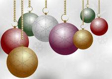 Christmas Balls on Silver Backround Royalty Free Stock Photo