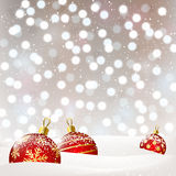 Christmas balls on silver bokeh background Royalty Free Stock Photography