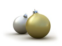 Christmas balls. Silver and Gold Christmas balls on a white background Royalty Free Stock Image
