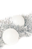 Christmas balls and silver tinse Royalty Free Stock Images