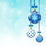 Christmas balls on sky background. Christmas balls on blue sky background Royalty Free Stock Photography
