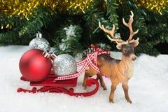 Christmas balls on sledge Stock Image