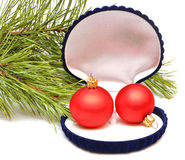 Christmas balls in small box for a gift Royalty Free Stock Photography