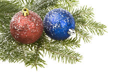 Christmas Balls & snow Stock Images
