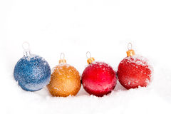 Christmas balls and snow Royalty Free Stock Photo