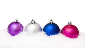 Christmas balls with snow Stock Photo