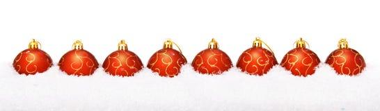 Christmas balls with snow Stock Photos