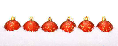 Christmas balls with snow Royalty Free Stock Image