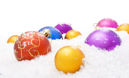 Christmas balls with snow Stock Image