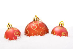 Christmas balls with snow Royalty Free Stock Photography
