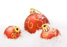 Christmas balls with snow Stock Images
