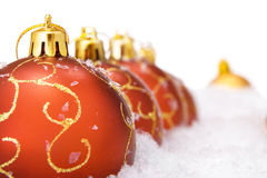 Christmas balls with snow Stock Photography