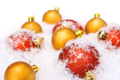 Christmas balls with snow Royalty Free Stock Photo