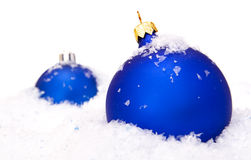 Christmas balls with snow Royalty Free Stock Images