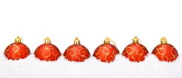 Christmas balls with snow Stock Photo