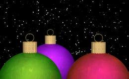 Christmas Balls Snow Background Stock Photo