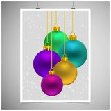 Christmas balls with snow background. For web design and application interface, also useful for infographics. Vector illustration Royalty Free Stock Images