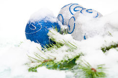 Christmas balls in snow Stock Image