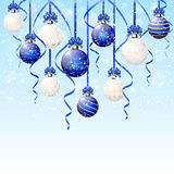 Christmas balls and snow stock illustration
