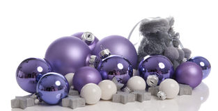 Christmas balls with snow boots. Isolated on a white background royalty free stock images