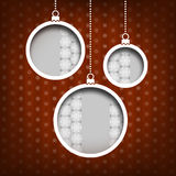 Christmas balls. Snow flakes decoration. Vintage style. Red background Royalty Free Stock Photos