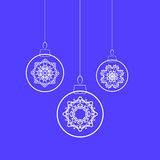 Christmas Balls. And Snow Flakes Isolated on Blue Background Stock Images