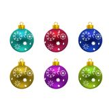 Christmas balls with snow flakes typography. For web design and application interface, also useful for infographics. Vector illustration Stock Images
