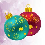 Christmas balls with snow flakes. For web design and application interface, also useful for infographics. Vector illustration Royalty Free Stock Photo